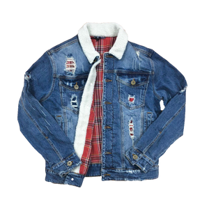 Kloud9 Destroyed Sherpa Denim Jacket