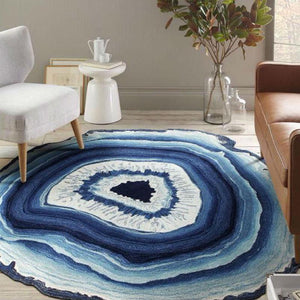 """Natural Cut Crystal"" Agate Geode Area Rug"