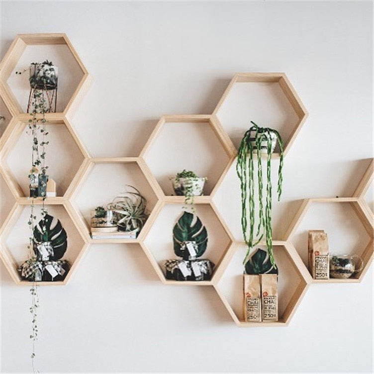 Wooden Hexagonal Wall Shelf