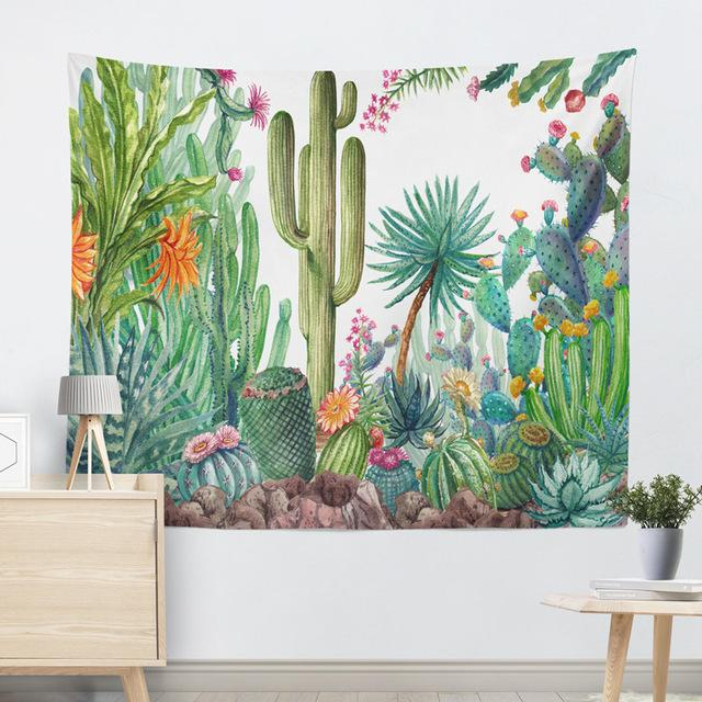 Tropical Watercolor Cactus Tapestry
