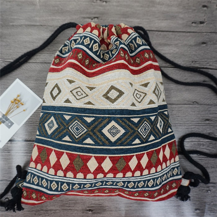 Embroidered Drawstring Backpack