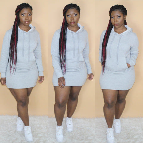 Hoodie Dress(Light Grey)