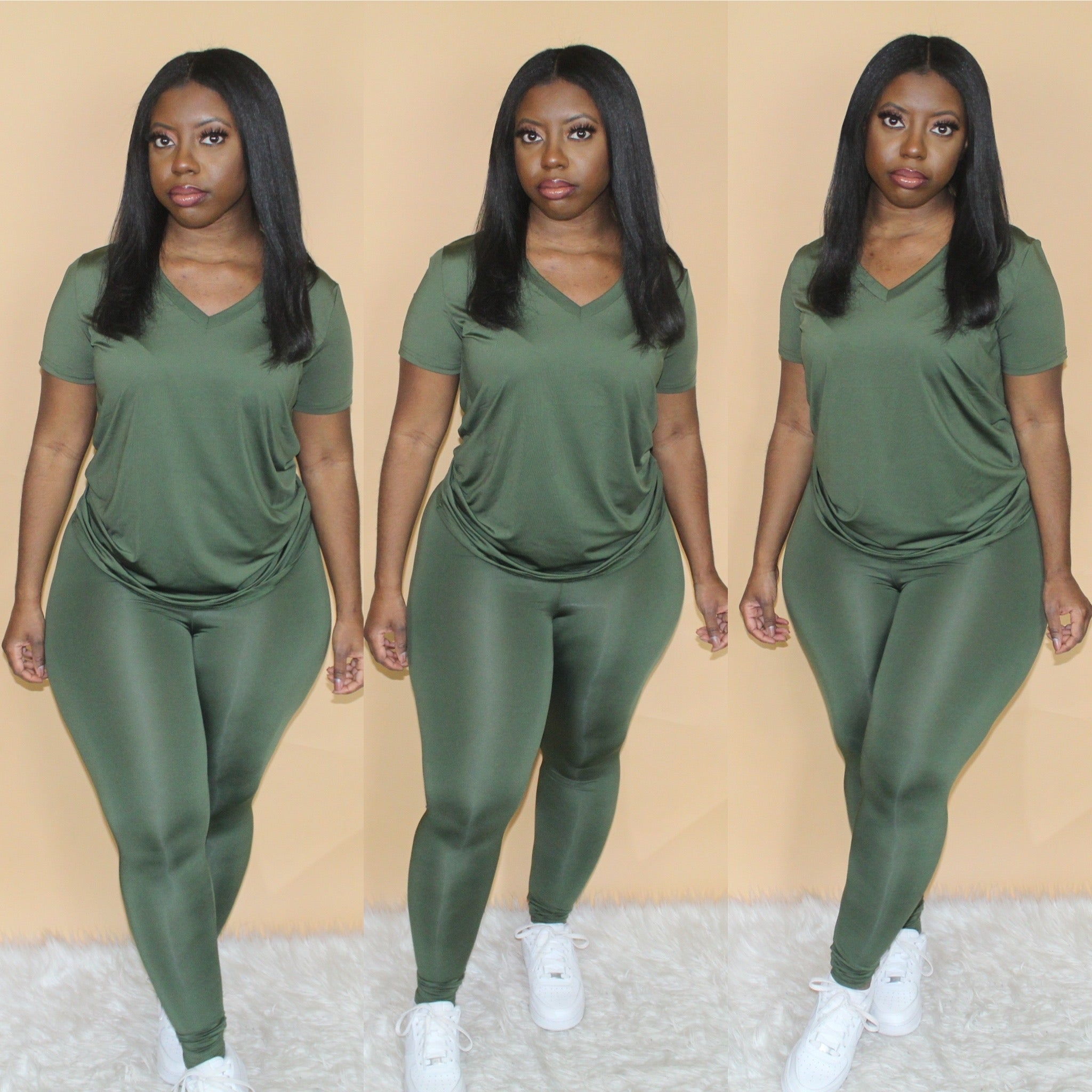 V-Neck Legging Set(Olive)