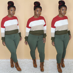 Color Block Sweater(Rust/Olive)