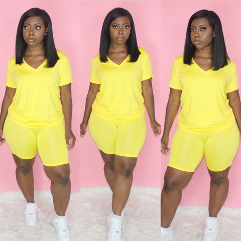 Basic V-Neck Biker Set(Yellow)