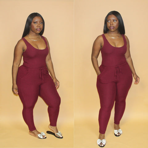 Essential Jumpsuit(Burgundy)