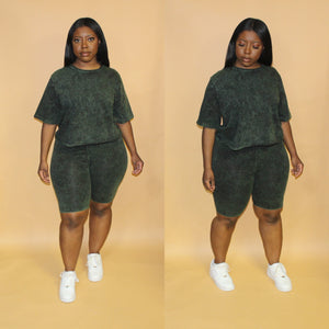 Mineral Wash Biker Short Set(Army Green)
