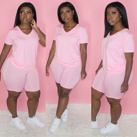 Basic V-Neck Biker Set(Pink)