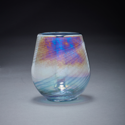 Memorial Glass Art: ocean waves ash infused votive