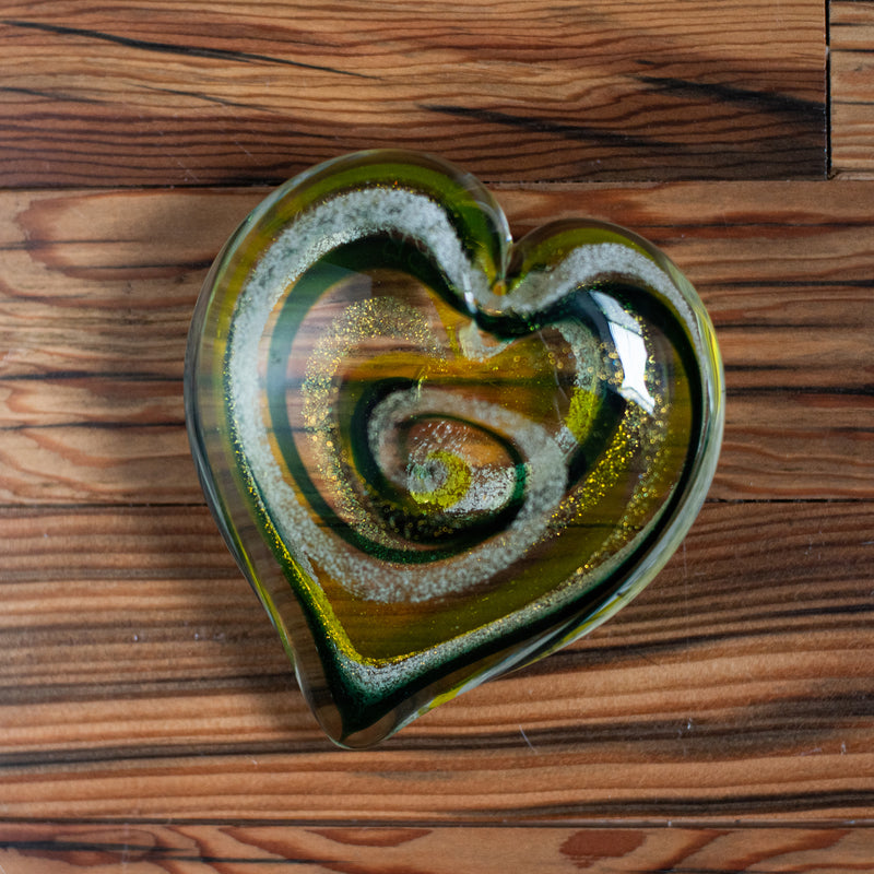 Memorial Glass Art: ash infused green bay packers green & gold team pride heart