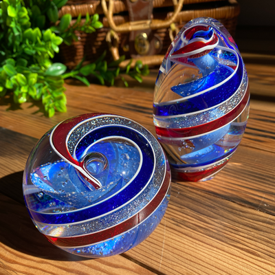 Memorial Glass Art: ash infused patriotic