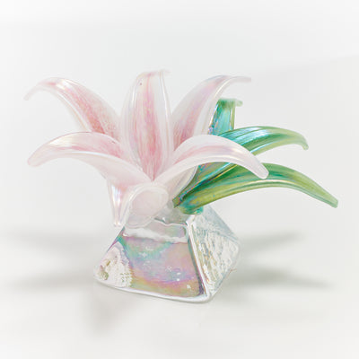 Memorial Glass Art: ash infused botanical peace lily flower sculpture