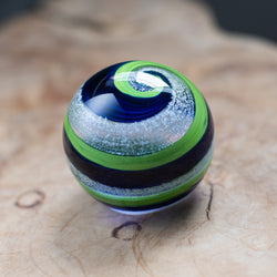 Memorial Glass Art: ash infused seattle seahawks blue & green globe