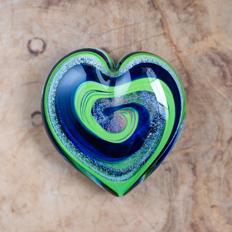 Memorial Glass Art: ash infused seattle seahawks blue & green heart
