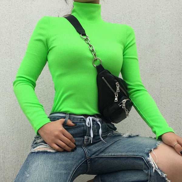 NEON COLOR TURTLE NECK LONG SLEEVE KNIT RIBBED SHIRT