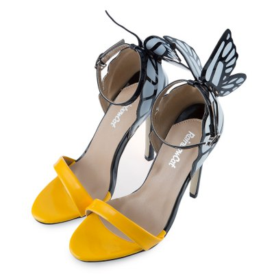 RainbowCat Sexy Color Block Butterfly Design Open Toe Ladies High Heel Sandals - Marra's Dream