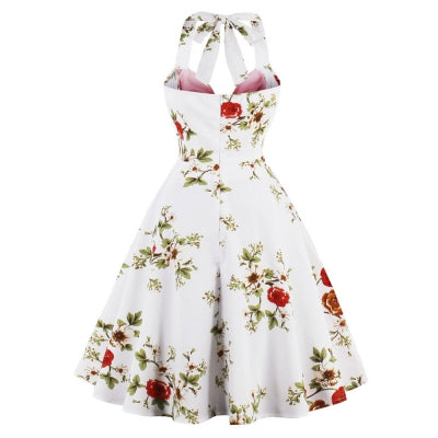 Vintage Floral Print Halter Pin Up Dress - Marras Dream