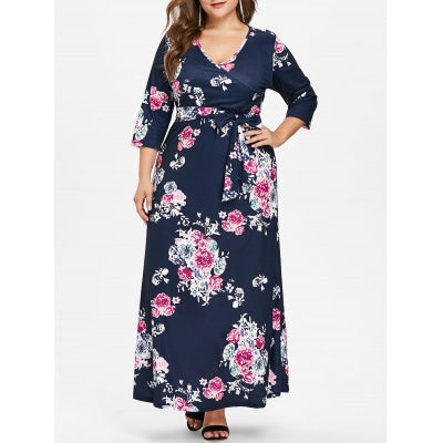 Plus Size Flower Print Floor Length Dress - Marra's Dream