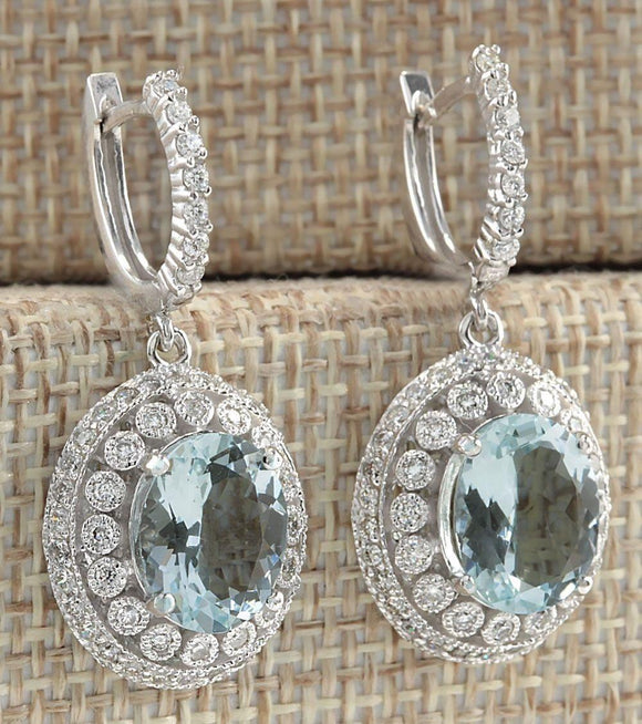 925 Sterling Silver Gemstone aquamarine Earrings - Marras Dream
