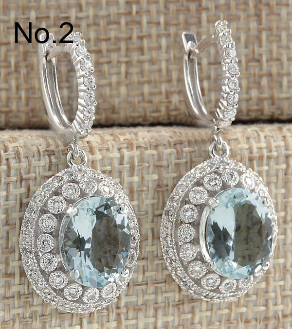 925 Sterling Silver Gemstone aquamarine Earrings - Marra's Dream