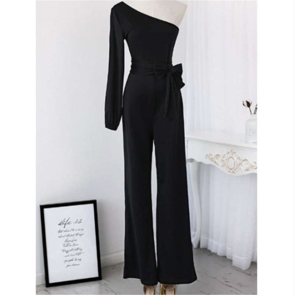 S-3XL Women Fashion Belted Overalls Pure Color Personality Oblique Shoulder Long Jumpsuit - Marra's Dream