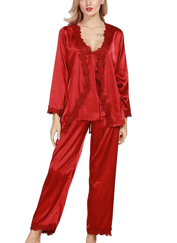 4Ping Womens Satin Luxurious Lightweight Long Sleeve Pyjamas - Marra's Dream