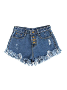 SweatyRocks Women's Retro High Waisted Rolled Denim Jean Shorts with Pockets - Marra's Dream
