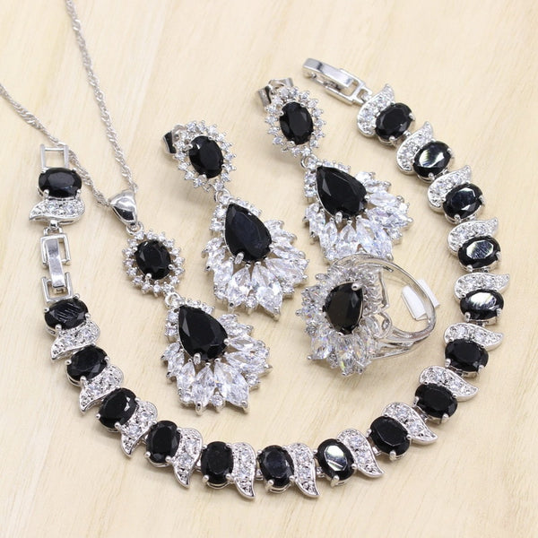 Black Zircon 925 Silver Bridal Jewelry Sets