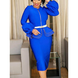 Bodycon Dress Women Vintage Ruffle Blue Elegant Evening 2019 - Marras Dream