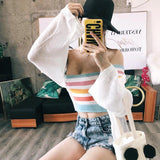 CARAMEL COLORS RAINBOW OPEN SHOULDERS CROP TOP - Marras Dream