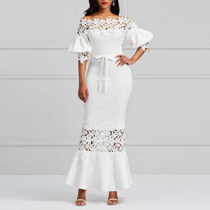 Elegant Long Dress Women White - Marras Dream