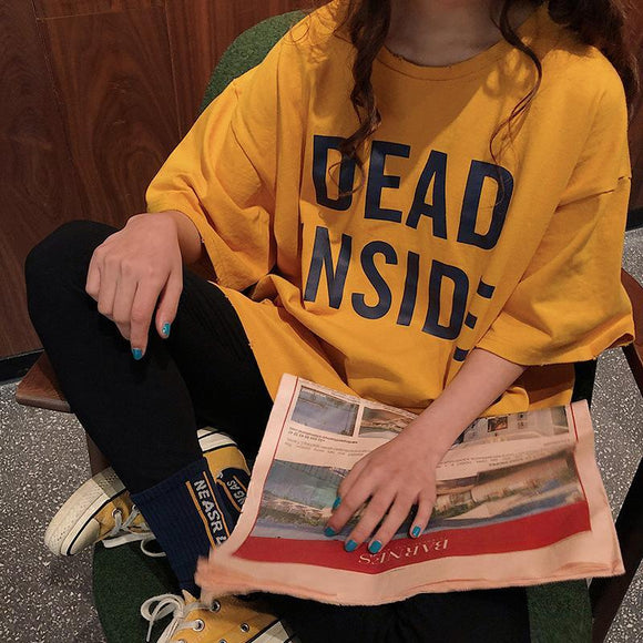 DEAD INSIDE LETTERS PRINT YELLOW WHITE OVERSIZED T-SHIRT - Marras Dream
