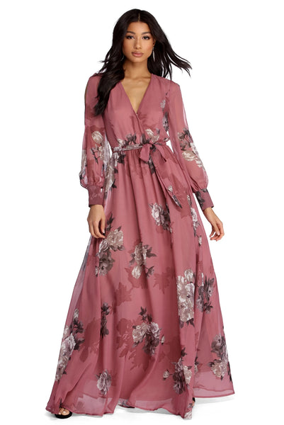 Floral Print Chiffon Wrap Dress Maxi Dress For Women