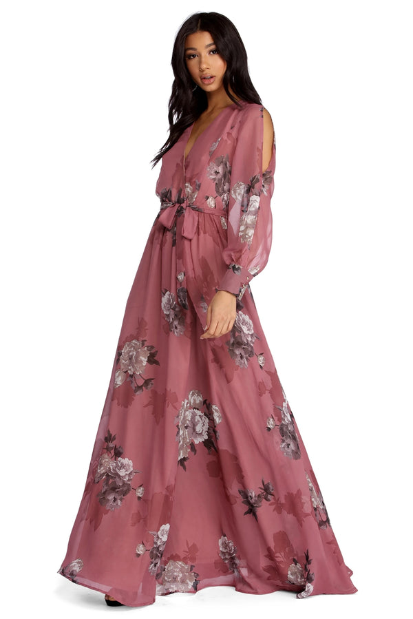 Floral Print Chiffon Wrap Dress Maxi Dress For Women - Marra's Dream