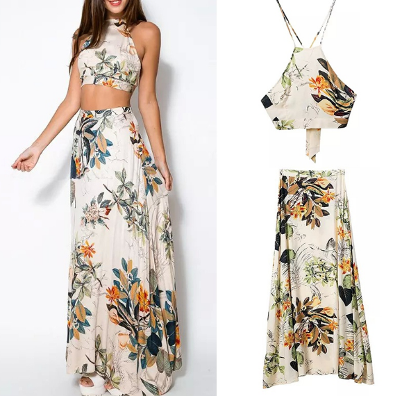 Fashion printed long maxi evening dress with seperate tops and skirt - Marra's Dream