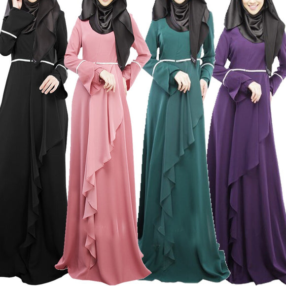 Femmes robe musulmane automne hiver robe Maxi à manches longues