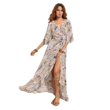 Floral Print Maxi Chiffon Dress Women - Marra's Dream