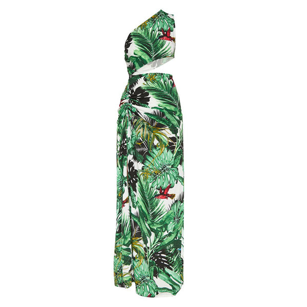 Floral print green tropical one shoulder cut out - Marra's Dream