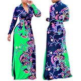 women maxi long flower printed ethnic style dress 2018 winter new fashion  full sleeve super  plus size xl-5xl large dress - Marras Dream