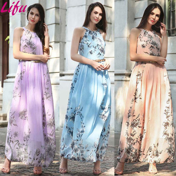 Designs Women Flower Long Maxi Dress Ladies Beach - Marra's Dream
