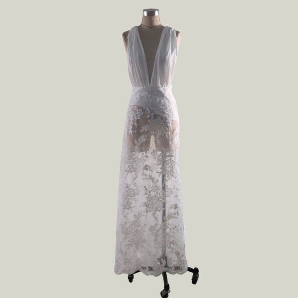 Out Floral Mesh White Dress Women - Marra's Dream