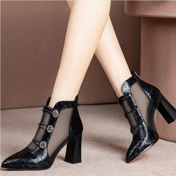 Sexy  chaussures maille sandales bottes femmes orteils pointus talons hauts