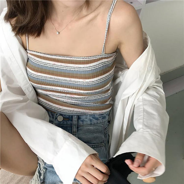 THIN STRAPPS STRIPES SLIM OPEN SHOULDERS SUMMER CROP TOP - Marra's Dream