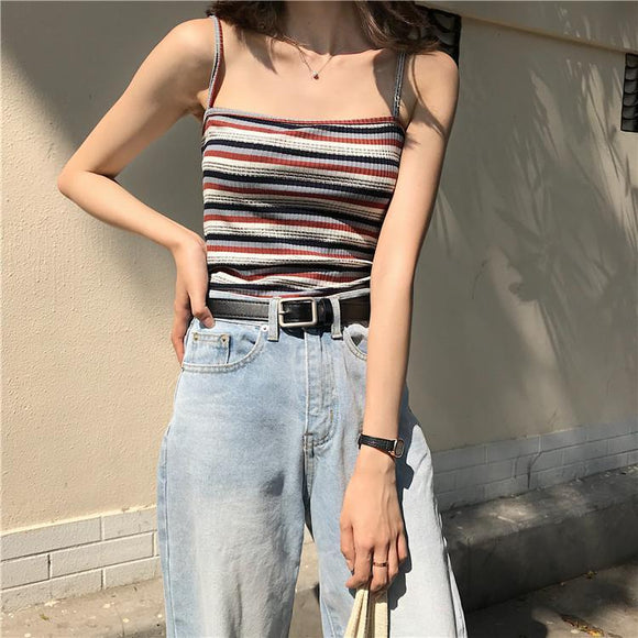THIN STRAPPS STRIPES SLIM OPEN SHOULDERS SUMMER CROP TOP - Marras Dream