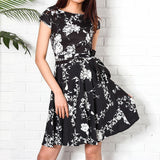 Vintage Black Floral Print Dresses Women Summer 2019 New - Marra's Dream
