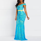 Women Maxi Dresses Elegant Blue - Marras Dream
