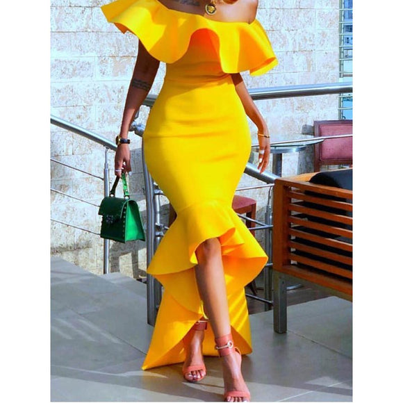 Women Maxi Dresses Sexy Elegant Party  Yellow - Marras Dream