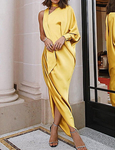 Women's Swing Dress - Solid Colored Gray Yellow Wine M L XL - Marra's Dream