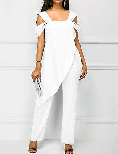 Women's Kentucky Derby Green White Black Harem Slim Jumpsuit, Solid Colored Ruffle / Chiffon / Fashion XXXL XXXXL XXXXXL Spring Summer Fall / Winter - Marra's Dream