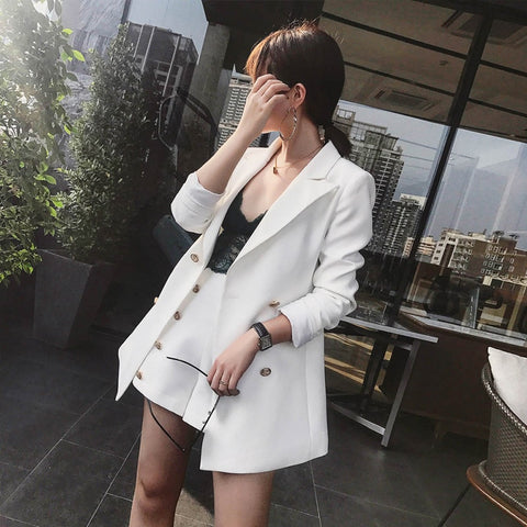 ELegant Office Lady Short Suit Set Jacket Blazer
